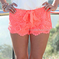 ONE FINE DAY LACE SHORTS , DRESSES, TOPS, BOTTOMS, JACKETS & JUMPERS, ACCESSORIES, 50% OFF SALE, PRE ORDER, NEW ARRIVALS, PLAYSUIT, COLOUR, GIFT VOUCHER,,SHORTS,Pink Australia, Queensland, Brisbane