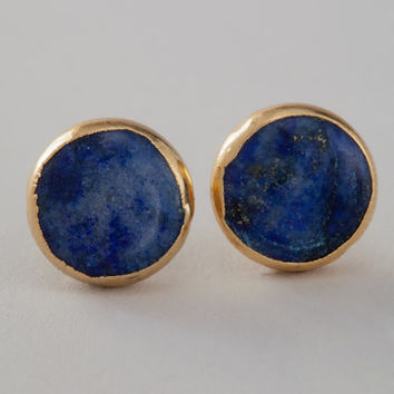 Robyn Rhodes Louisa Lapis Stud Earrings in Yellow Gold Plated