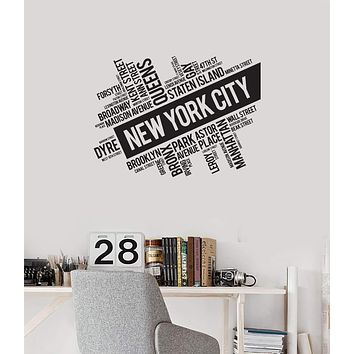 Vinyl Wall Decal New York City Streets USA Words Cloud Room Interior Art Stickers Mural (ig5731)