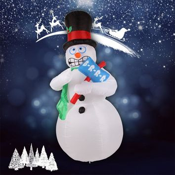 6.9 ft. H Inflatable Animated Shivering Snowman Shivers and Shakes Christmas Yard Decoration