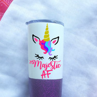 Unicorn Majestic AF Glitter Coffee Tumbler