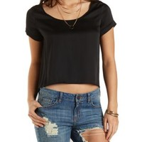 Black High-Low Satin & Chiffon Top by Charlotte Russe