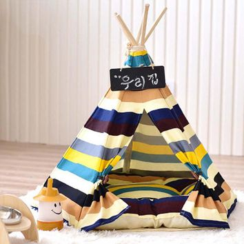 2017 Hot New Arrival Removable Canvas striped Pet Kennels Dog Cat Teepee Play Tent House Bed Washable Striped S L 2 Size