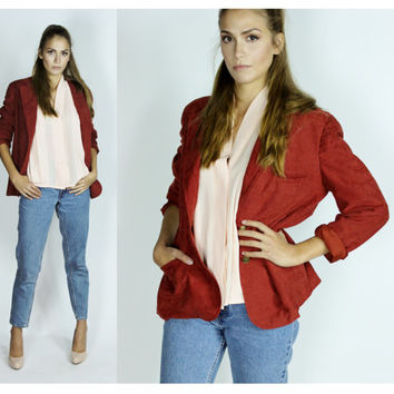 Vintage Suede Jacket Preppy Coat Burnt Orange Red Boyfriend Blazer Medium