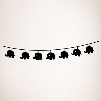 Vinyl Wall Decal Sticker String of Elephant Lights #OS_MG290