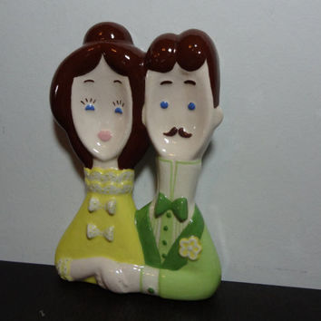 Vintage Lefton Old Fashioned Mr and Mrs Spoon Rest, Wall Décor, or Cake Topper - Old Fashioned/Kitsch