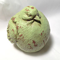 Shabby distressed chubby bird figurine lime green French country statue knickknack ornament knick knack figure