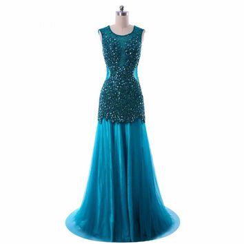 Mermaid Tulle Heavy Beaded Low back Long Dresses Robe Special Occasion Formal gown