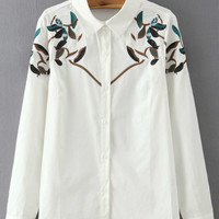 White Leaves Embroidered Long Sleeve Blouse