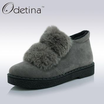 Odetina 2017 New Big Size 33-45 Women Real Rabbit Fur Ankle Snow Boots Warm Winter Round Toe Flat Slip on Booties Ladies Shoes