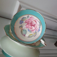 Antique Paragon green rim floral tea cup and saucer, English rose bone china tea set, wedding gift