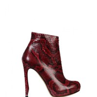NICHOLAS KIRKWOOD  Python Ankle Boots in  Claret