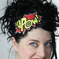 Comic kapow embroidered headband red and yellow by janinebasil