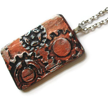 #Steampunk #Gears #Pendant, 3d mixed media in #copper faux finish, hand painted art pendant #necklace, rustic industrial jewelry for men