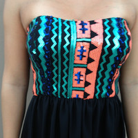 Neon Sequin Hi Low Chiffon Dress