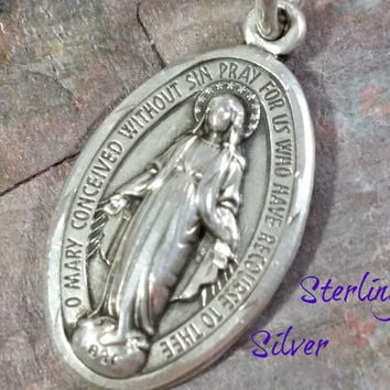 Vintage Sterling Silver Medal Catholic Religious Medal Mary Mother of Jesus Oval Diamond Cut edge Pattern Nice Medal O Mary Conceived with..