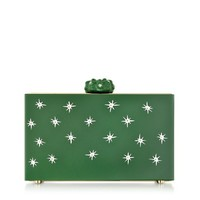 Charlotte Olympia Designer Handbags Green Prickly Pandora Clutch Box w/Cactus Clasp & Crystal Detail