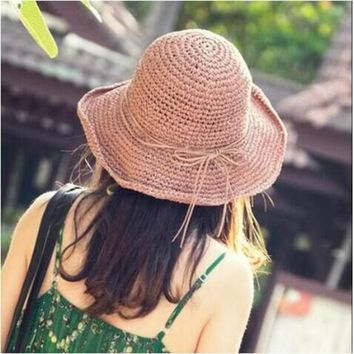 MAERSHEI 2018 Korean handmade crochet straw hat ladies bow fisherman hat folding straw hat