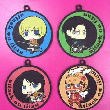 Cool Attack on Titan 4pcs/lot  Anime keychain Krista Lenz Rivaille Eren Armin Sasha Mantra Rubber strap/phone charms AT_90_11