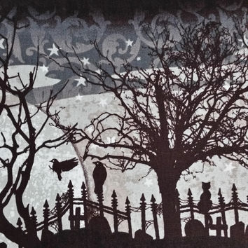 SCARY NIGHT Halloween Black Crows trees graveyard black cat full moon stars silhouettes shadows 1 Yard Excellent Fabric Genius Projects