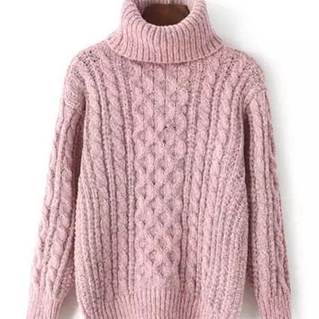 Flax Patterns Turtle Neck Pullover Sweater