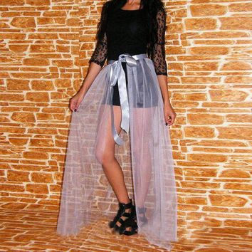 DCCKFV3 Light Gray Silver Tulle Train Sheer 1 Layer Tulle Tail Custom Made Overskirt Personalized Long Overlay Skirt Plus Size