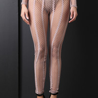 Striped Fishnet High Rise Leggings