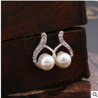 Nice Fashion Gold Crystal water drop Stud Earrings Brincos big Pearl Earrings For Woman (Color: Silver) = 1669160772