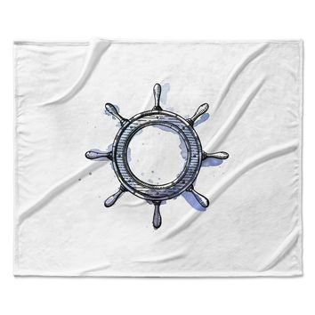 "Kess Original ""Ships Helm"" Blue White Fleece Throw Blanket"
