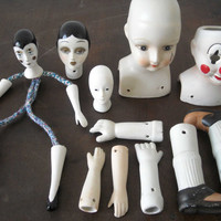 Lot of pocelain doll parts