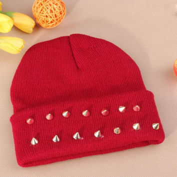 Gothic Punk Industrial Emo Edm Ebm Rave Rock Metal Stud Bullet Autumn Winter Warm Womens & Mens Knitted Beanie Burgundy Cuffed Skully Hat