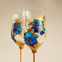 Wine Glasses Hand Painted Royal Blue Gold Floral Design Swarovski Crystals Set of 2
