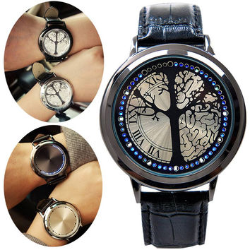 Touch Screen LED Watches For Women/Men with Tree Shaped Dial Blue Light Display Leather Band Time
