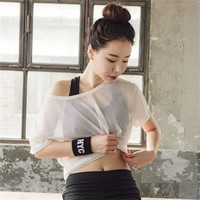 2 Colors Women Yoga Shirts Net Crop Top Short Sleeve Sports Shirts Mesh Blouse Long Sleeve Running Gym Fitness Mesh T Shirt