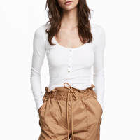 Henley shirt - White - Ladies | H&M CA