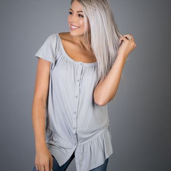 Silver Gray Button Off Shoulder Top
