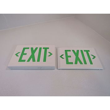 Hubbell 13in x 9in Lighted Exit Sign Single Side 120 VAC 277 VAC LXUGW -- Used