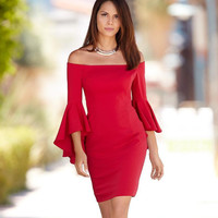Off the Shoulder Bell Sleeve Bodycon Mini Dress