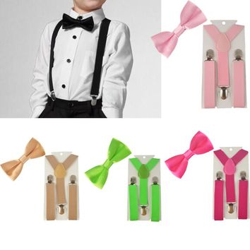 2PCS Diverse Color Boys Kids Suspenders BowTie Butterfly Tie Easy to Wear For Boy TR0003