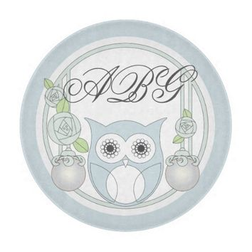 Cute Retro Owl and Roses Monogram Light Blue Cutting Boards