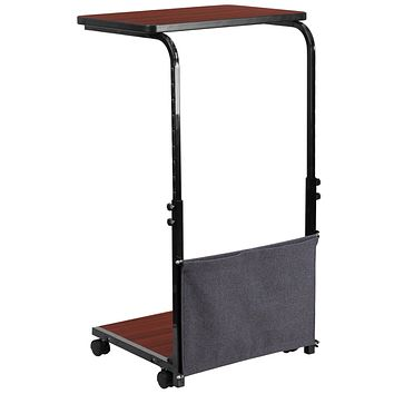 Mobile Sit-Down, Stand-Up Computer Desk with Removable Pouch (Adjustable Range 27'' - 46.5'')