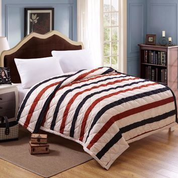 Summer quilts is White grey striped polyester cotton twin full queen king size comforters Home textile blankets cartoon duvets