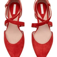 Suede ballet pumps - Red - Ladies | H&M GB