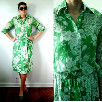 VINTAGE 1950s Green & White HAWAIIAN Dress Skirt and Blouse Set FLORAL