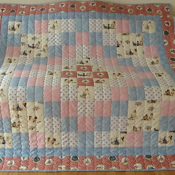 A is For Annabelle, Tasha Tudor, Handmade, Large Lap Quilt 62 x 63 inches Free Shipping Canada and USA