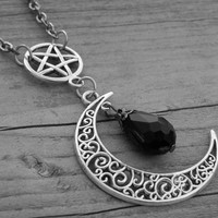 Silver Moon Necklace Moon Jewelry Pentagram Pentacle Gothic Goth Crescent Moon Half Moon Witchcraft Witch Craft Occult Black Crystal Bead