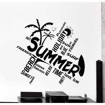 Wall Vinyl Decal Quotes Word Cloud Summer Travel Beach Surf Home Decor Unique Gift z4353