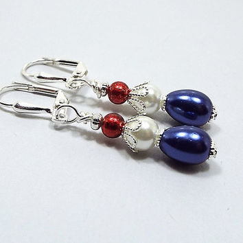 Red White and Blue Earrings, Glass Beaded Small Drop Earrings, Patriotic Jewelry, 4th of July, Silver Plated, United States USA