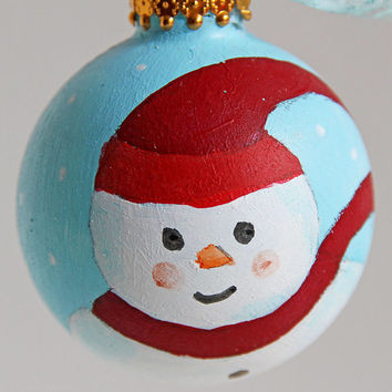 Hand Painted Snowman Ornament, Snowman with Red Hat and Scarf, Glass Ball Ornament, Christmas Tree Decoration, Holiday Decor