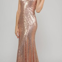 Rose Mermaid Sequins Floor Length Formal Dress Halter V-Neck